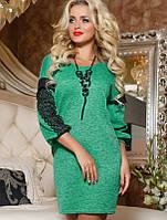 Женское ангоровое платье с гипюром на рукавах (2075-2069 svt)