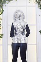 """Стеганый женский жилет на синтепоне """"OSF"""" с капюшоном и краманами (большие размеры), фото 2"""