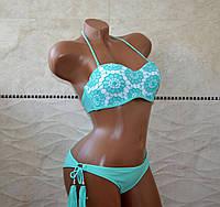 Красивый бирюзовый женский купальник, кружевной бикини, формовая чашка, размер S.