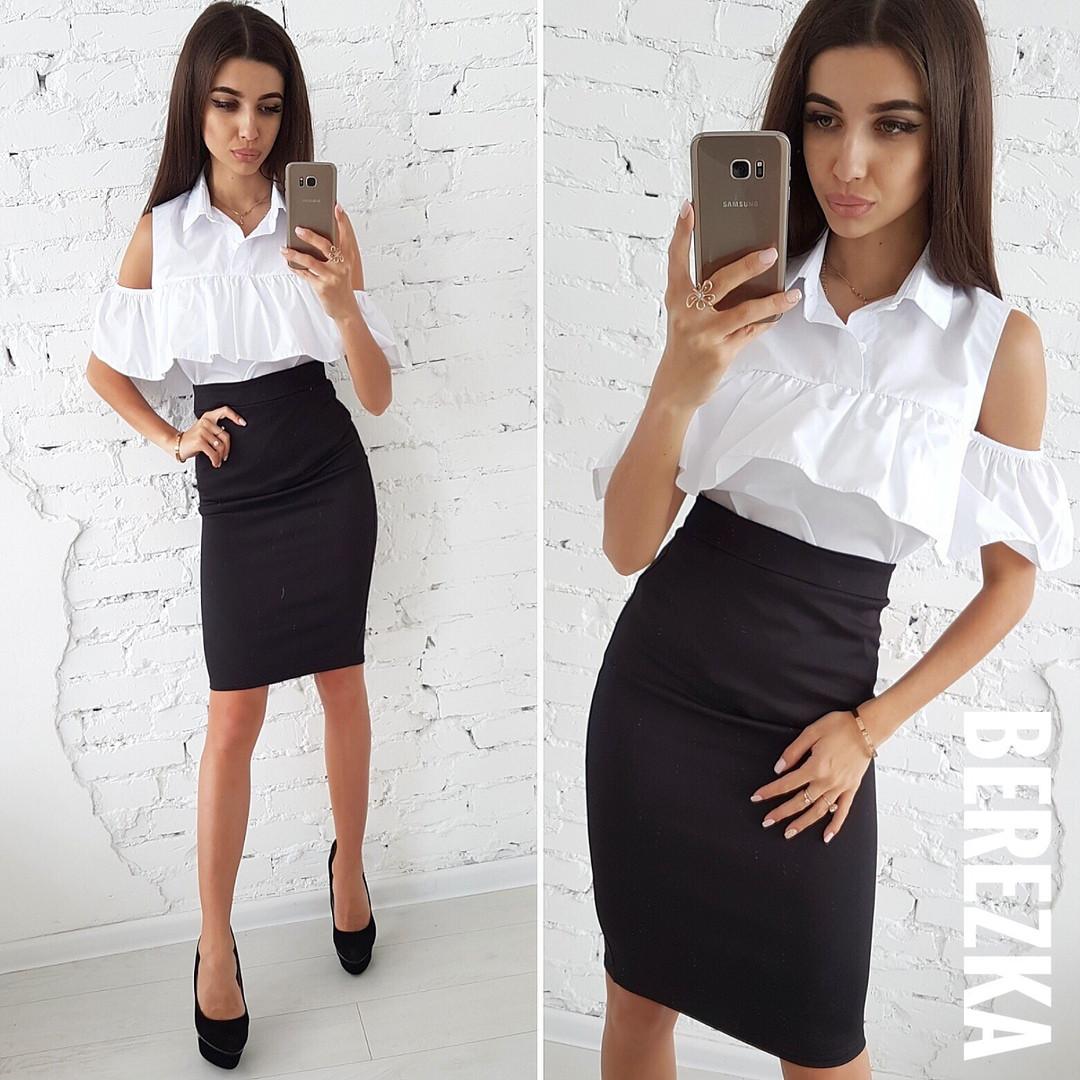 Костюмчик белая блуза и черная юбка