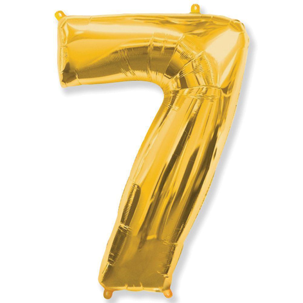 """Надувной шар Цифра 7, 40"""" (102 см) фольга золото, Flexmetal"""