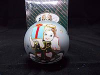 """Новогодний елочный шарик """"Девочка ангел"""". Стеклянный. 8 см."""