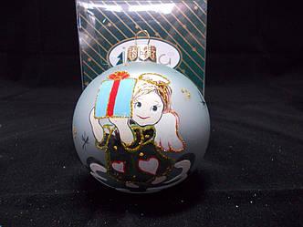 """Новогодний елочный шарик """"Девочка ангел"""". Стеклянный. 8 см., фото 2"""