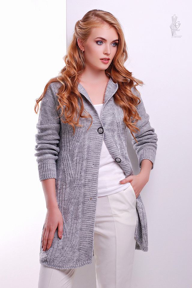 Серый цвет Красивой женской кофты кардигана Даная