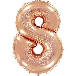 """Надувной шар Цифра 8, 40"""" (102 см) фольга Металлик Розовое золото, Flexmetal"""