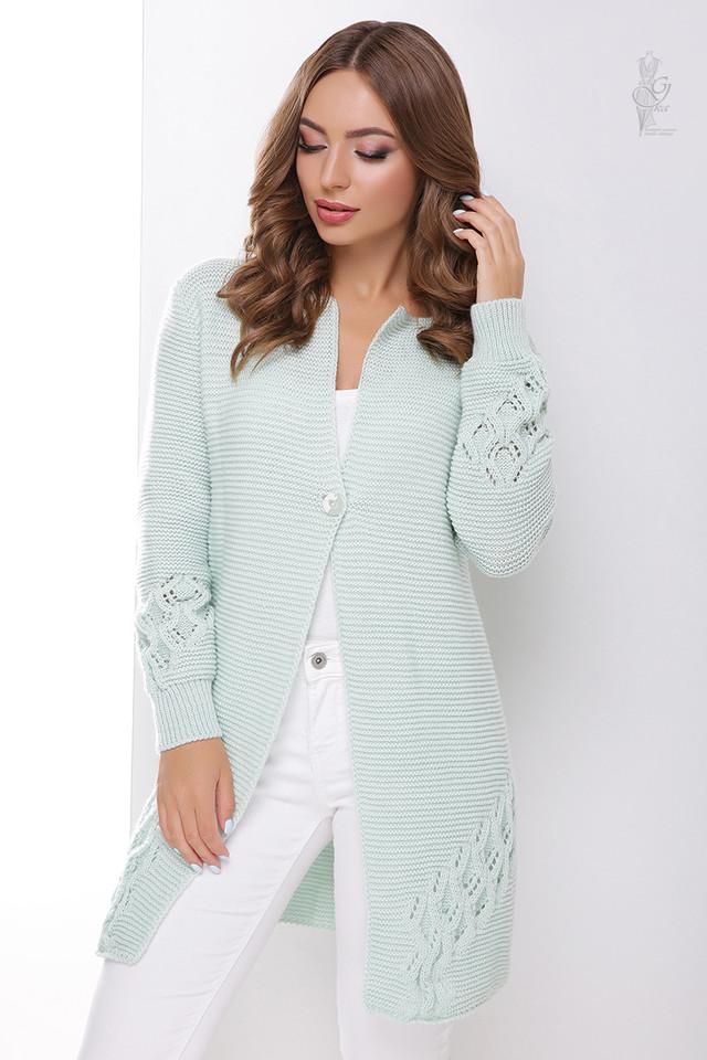 Мятный цвет Красивой женской кофты кардигана Чарис