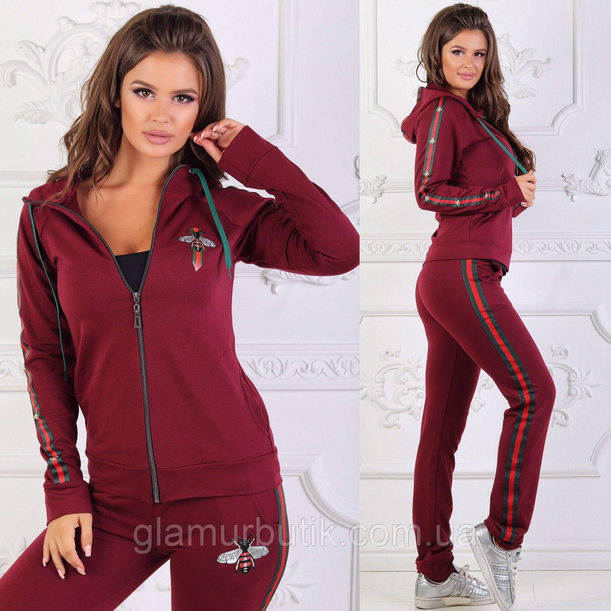 3db8aeb54a08 Женский стильный спортивный костюм Gucci штаны и кофта с карманами  капюшоном лампасами 42 44 46 48