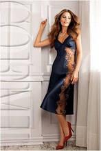 Сорочка ночная рубашка женская шелковая синяя длинная Coemi 151 659