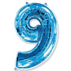 """Надувной шар Цифра 9, 40"""" (102 см) фольга Синяя, Flexmetal"""
