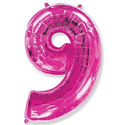 """Надувной шар Цифра 9, 40"""" (102 см) фольга Малиновая, Flexmetal"""