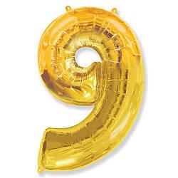 """Надувной шар Цифра 9, 40"""" (102 см) фольга золото, Flexmetal"""