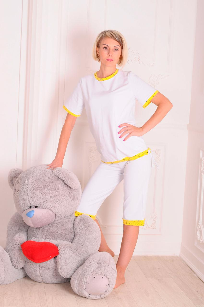 Пижама женская трикотажная с шортами белая размеры 40-46