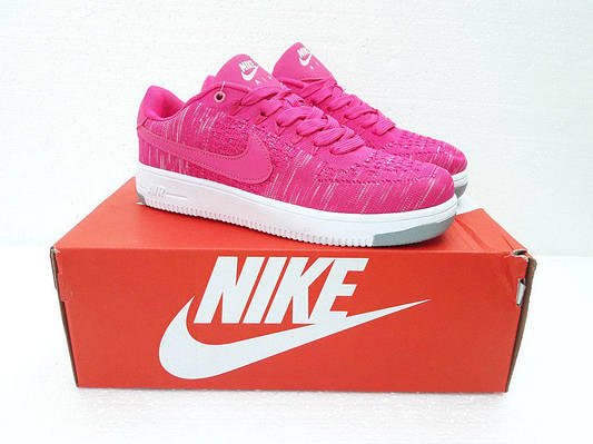 Женские Кроссовкив стиле  Nike Air Force Flyknit розовые тканевые
