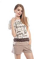 Женская пижама беж/ меланж