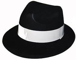 Шляпа гангстера с белой полоской