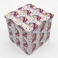 Коробка жесть квадратной формы единорог