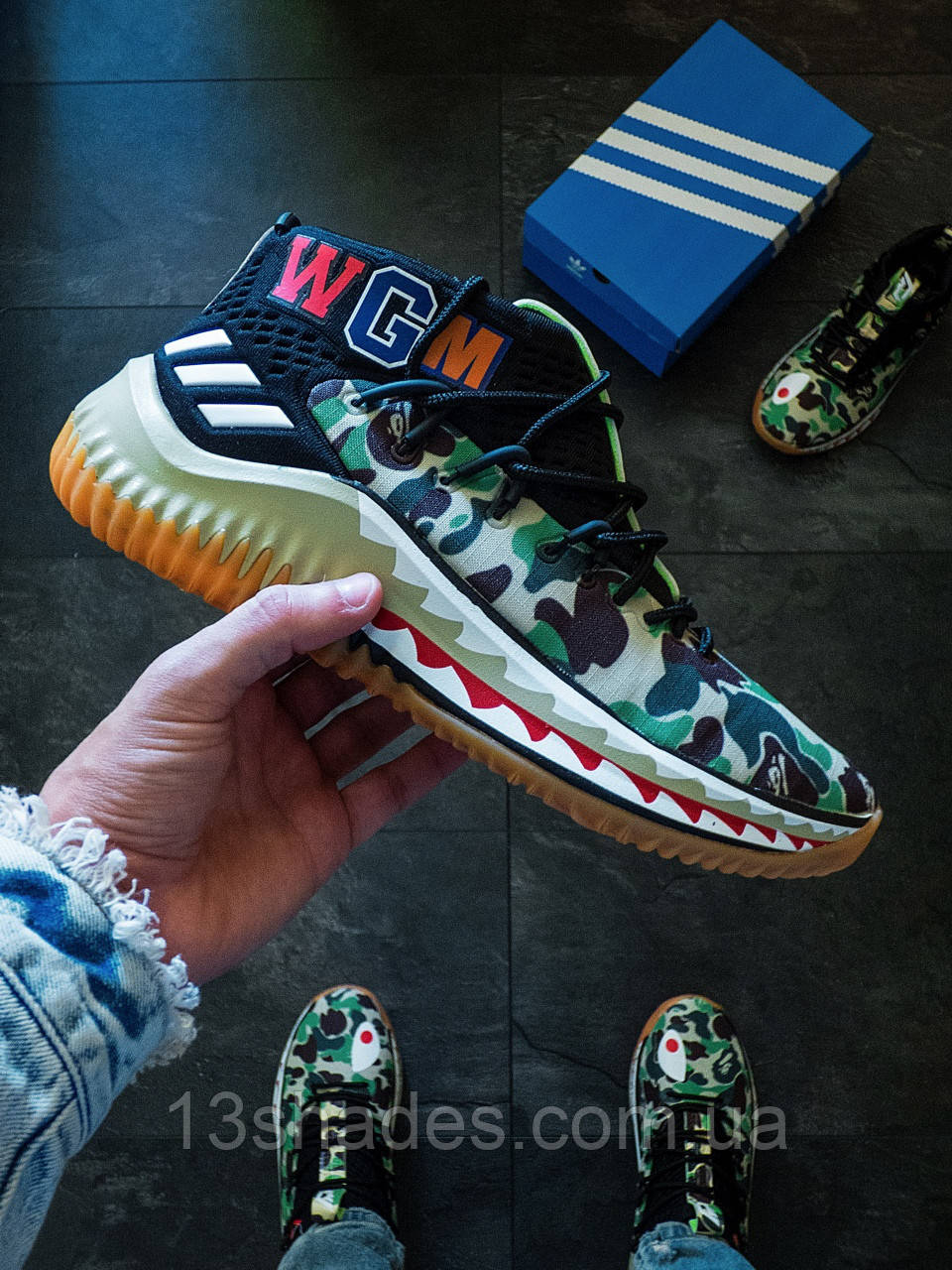 кроссовки мужские Adidas X Bape Dame 4 Camo Green продажа цена в