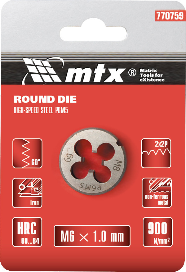 Плашка  М6 х 1,0 мм, Р6М5// MTX