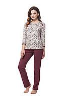 Хлопковая  женская пижама  бордо/цветы
