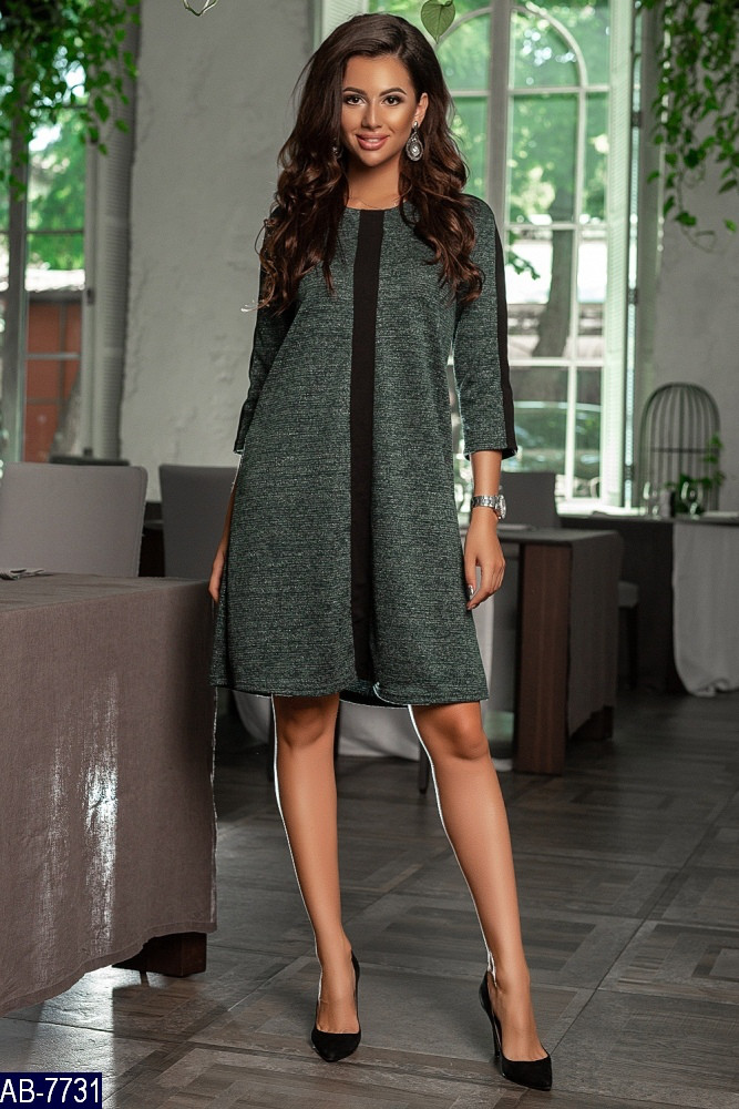 a3578705fee Трикотажное платье трапеция до колен из ангоры - купить по лучшей ...