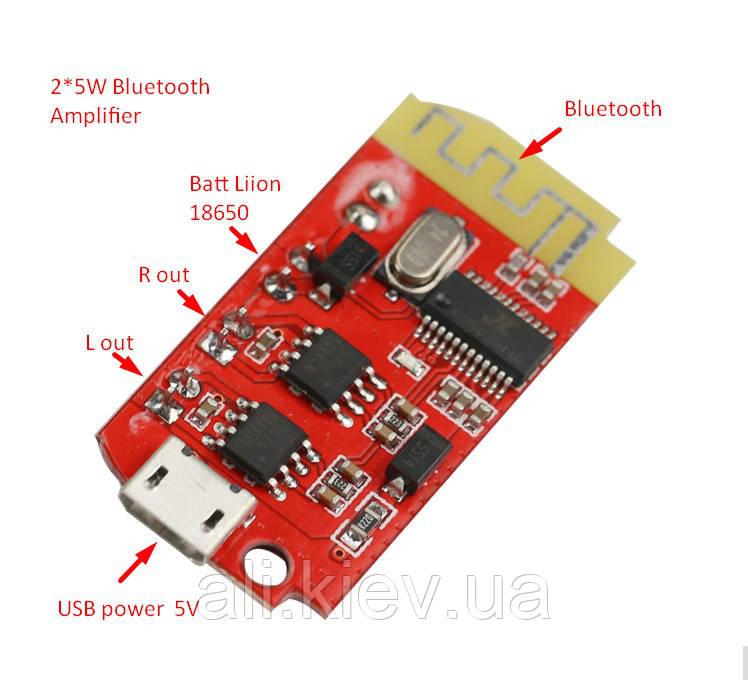 Підсилювач з Bluetooth, 2*5Вт . Живлення від USB 18650 3-5В Мини колонки Усилитель с блютус D-клас