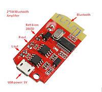 Підсилювач з Bluetooth, 2*5Вт . Живлення від USB 18650 3-5В Мини колонки Усилитель с блютус D-клас, фото 1