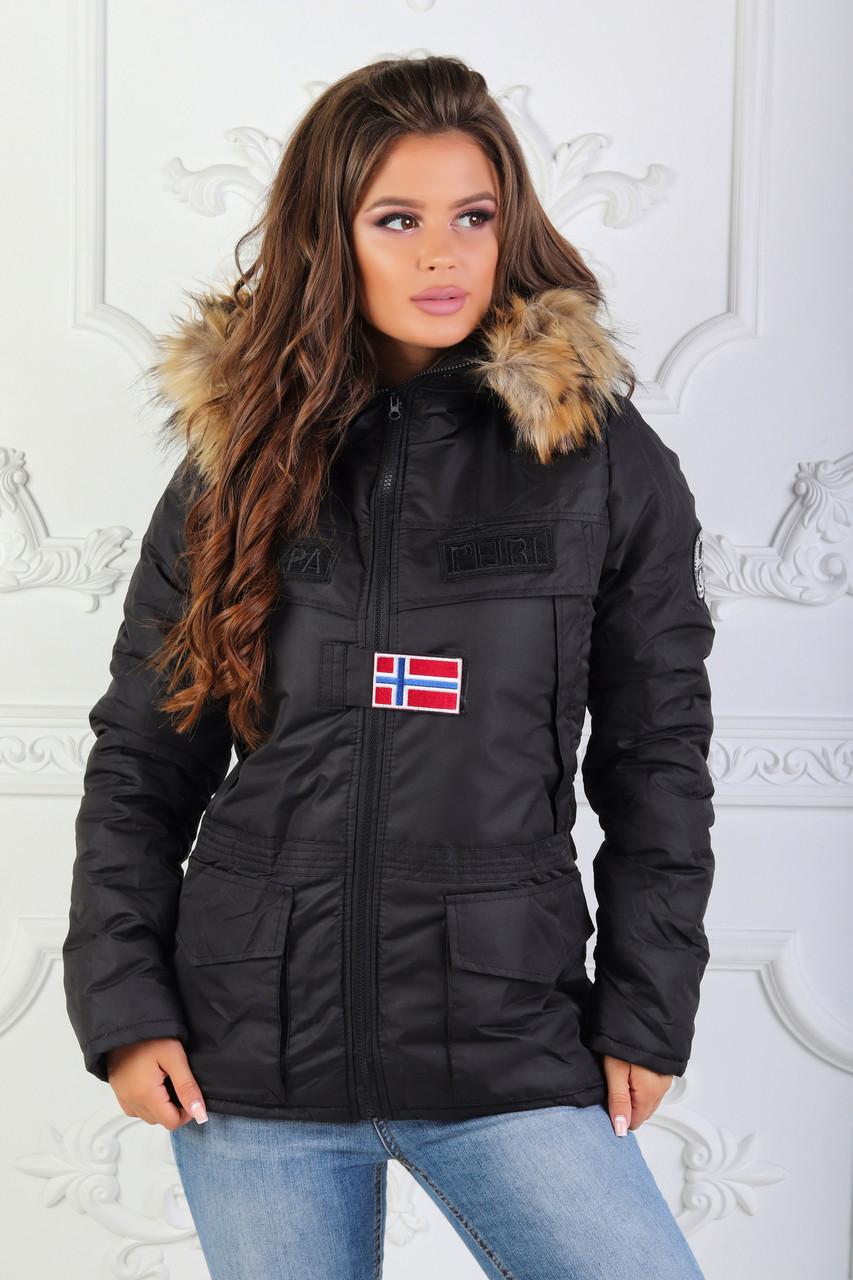 """Теплая женская куртка на овчине """"Napapijri"""" с капюшоном"""