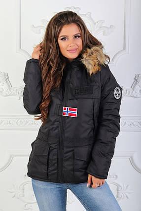 """Теплая женская куртка на овчине """"Napapijri"""" с капюшоном, фото 2"""