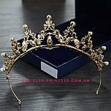 Диадема, корона,  тиара под  золото с жемчугом и камнями,  высота 5,5 см., фото 3