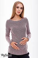 Облегающий джемпер для беременных и кормления ELANOR, из теплого трикотажа букле, черно-розовое, фото 1