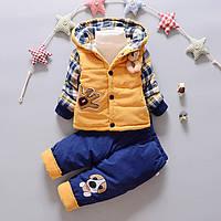 Комбинезон раздельный для мальчика осень-зима с желтой курткой