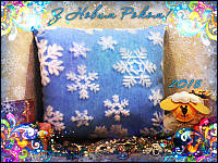 Светящаяся новогодняя подушка Снежинка