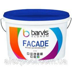 Фасадна акрилова дисперсійна фарба Barvis Econom Facade для зовнішніх і внутрішніх робіт Біла 5 літрів