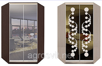 Угловой шкаф-купе тонированные зеркала + пескоструй + цветные стекла, фото 3