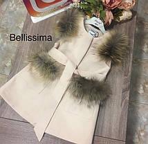 Детская кашемировая жилетка с мехом енота, фото 3