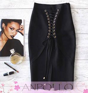 Корсетная юбка карандаш с завышенной талией с люверсами, фото 2