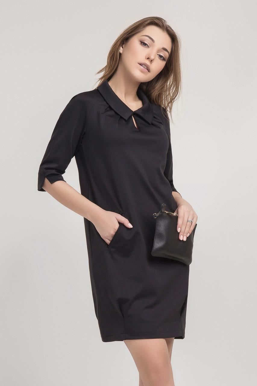 d32649deb63 Офисное женское черное платье с карманами  продажа