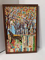 Картина на стекле подарок витраж яркая витражная Осень в парке яркая осень