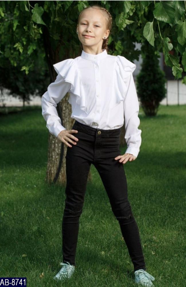 Блузка школьная для девочки Воланы Размер: 34, 36, 38, 40 мод 147 ткань: вискоза,эластан