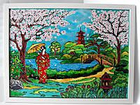 Картина на стекле подарок витраж яркая витражная Цветение сакуры сакура япония
