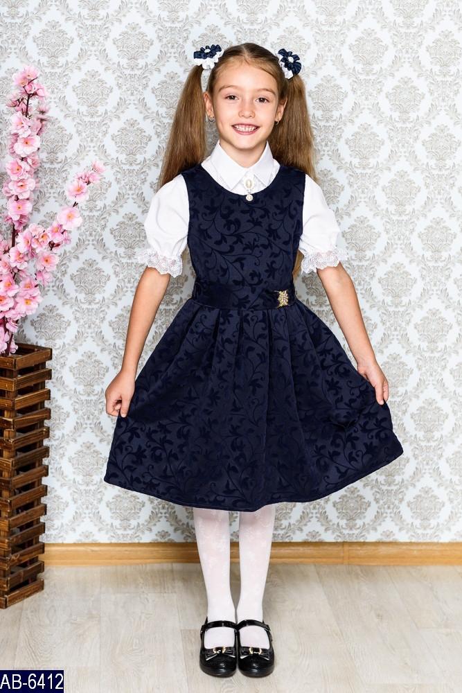 Сарафан школьный для девочки ткань: креп диор с велюровым рисунком Размер: 122, 128, 134