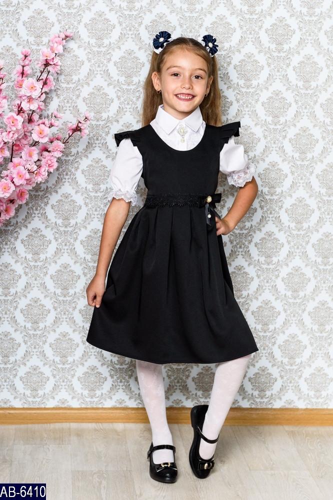 Сарафан школьный для девочки поясок кружево Размер: 122, 128, 134 сарафан школьный. 031 (1) ткань: мадонна