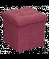 Бордовый велюровый раскладной пуф мягкий, фото 1