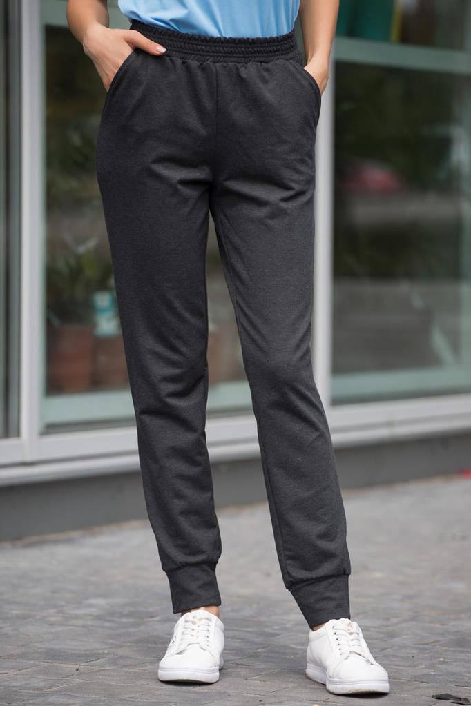 Графитовые хлопковые брюки HOLLY в спортивном стиле