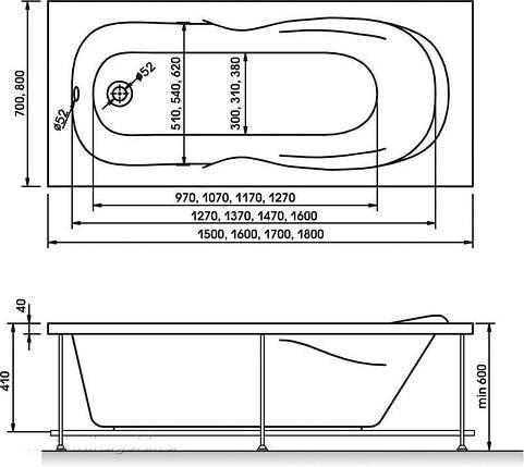 Ванна акрилова KOLLER POOL DELFI 180x80 + сифон, фото 2