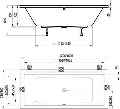 Комплект Ravak Formy 01 180х80 см ванна + панель, фото 3