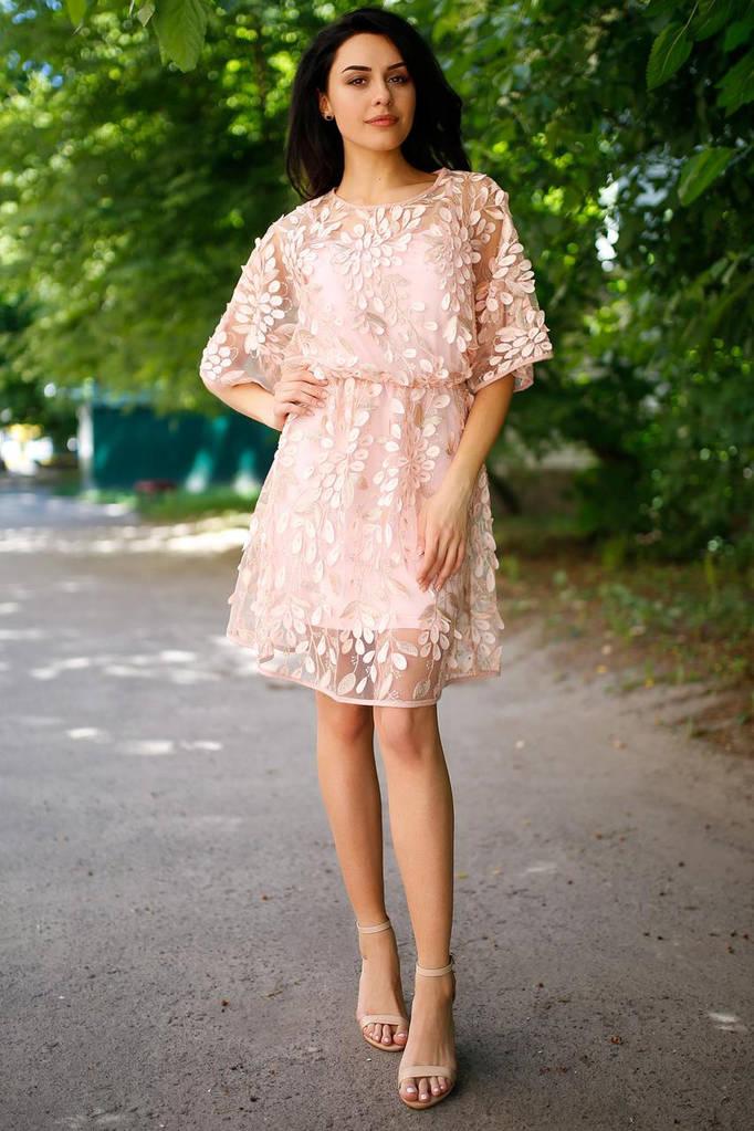 Пудровое платье ADELIS с цельнокроенным рукавом из кружева на сетке
