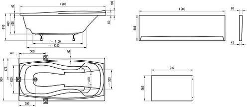 Комплект Ravak Magnolia 170 x 75 опора + панель + кріплення, фото 3