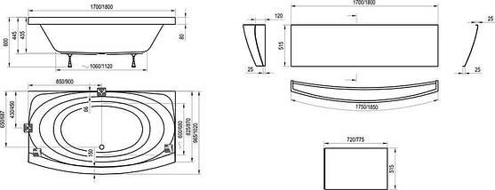 Комплект Ravak Evolution 180 x 102 опора + панель + кріплення, фото 3