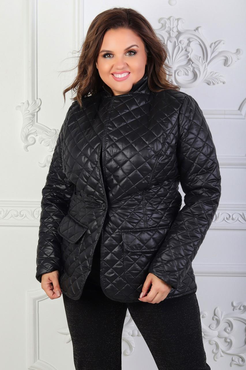 """Стеганая женская куртка-пиджак """"CHEER"""" с карманами (большие размеры"""